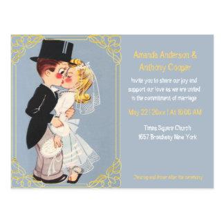 Cute and funny cartoon wedding template postcard
