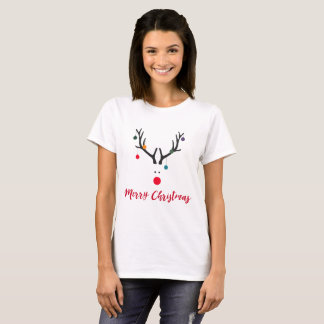 Cute and funny Christmas reindeer on white T-Shirt