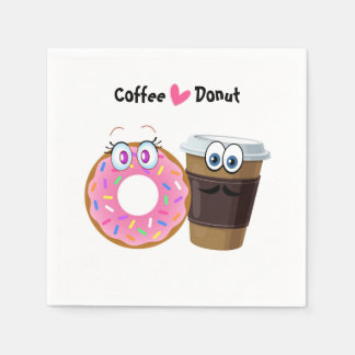 Cute and funny coffee loves donut paper napkins