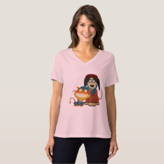 Cute and Funny Hipster Dog and Cat T-Shirt
