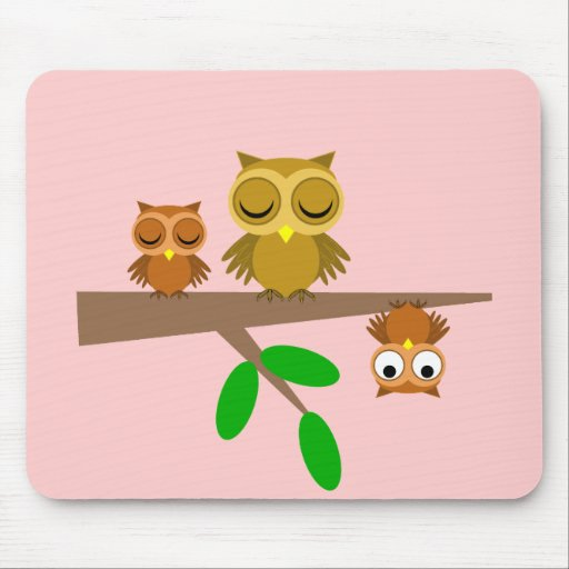 cute and funny owls mouse pads