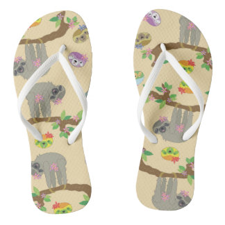 cute and funny sloth pattern thongs