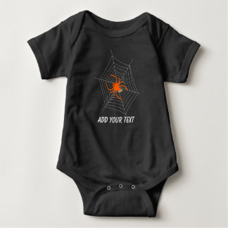 Cute and Funny Spider and Web Halloween Baby Bodysuit