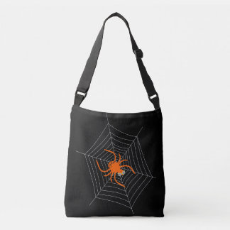 Cute and Funny Spider and Web Halloween Crossbody Bag