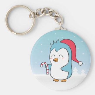 Cute and Happy Christmas Penguin with Candy Cane Key Chain