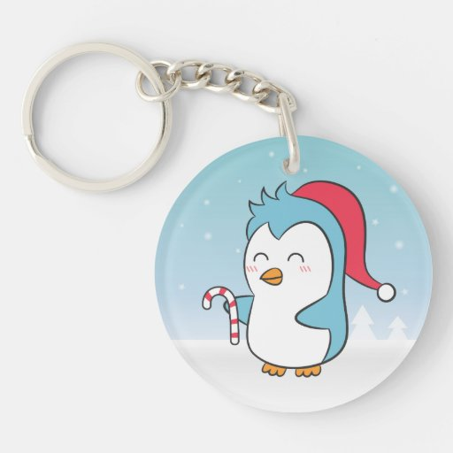 Cute and Happy Christmas Penguin with Candy Cane Acrylic Key Chain
