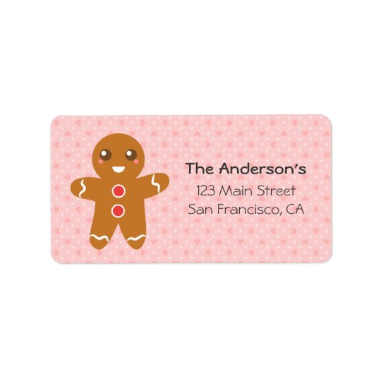 Cute and Happy Gingerbread Man for Christmas Label