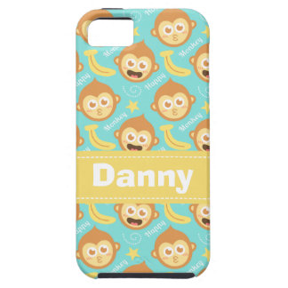 Cute and Happy Monkey, Bananas and Stars Pattern iPhone 5 Cover
