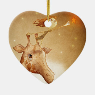 Cute and imaginative illustration ceramic heart decoration