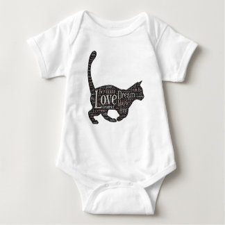 Cute and inspirational jersey bodysuit with cat