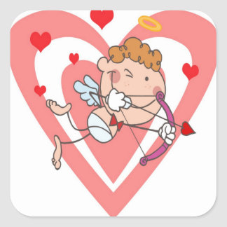 Cute and Loving Cupid Angel Square Sticker