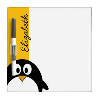 Cute and Modern Cartoon Penguin Dry Erase Board