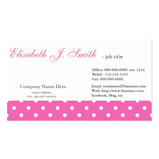 Cute and neat pink polka dots graphic design business cards