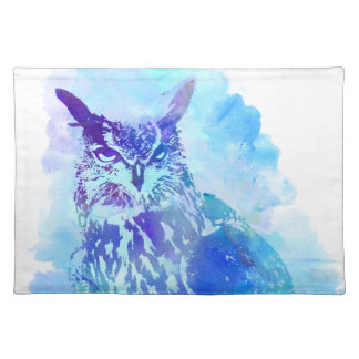 Cute and Pretty Artsy Owl Design in Blue Placemats