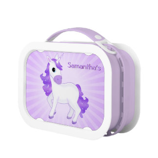 Cute and Pretty Little Purple Cartoon Unicorn Lunch Box