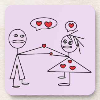 Cute and Romantic Stick Figure Couple in LOVE Coaster