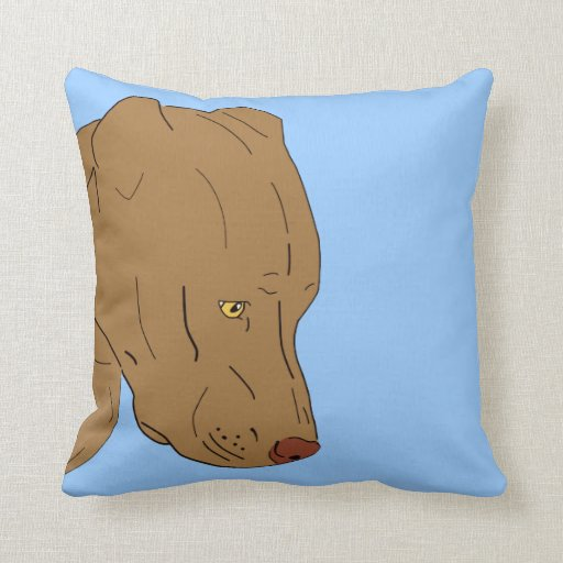 Cute and Sad Pit Bull Portrait Created by Line Art Pillow