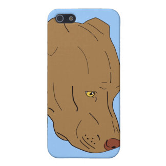 Cute and Sad Pit Bull s Portrait - Line Art Covers For iPhone 5
