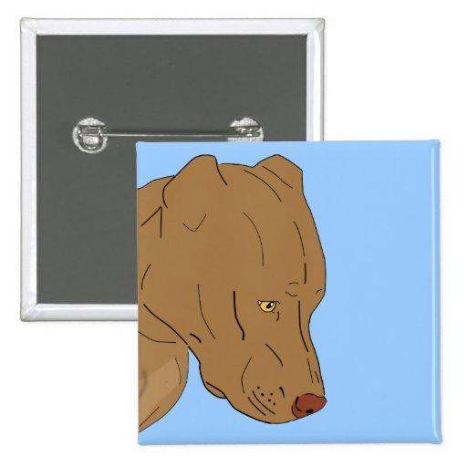 Cute and Sad Pit Bull's Portrait - Line Art Pinback Button