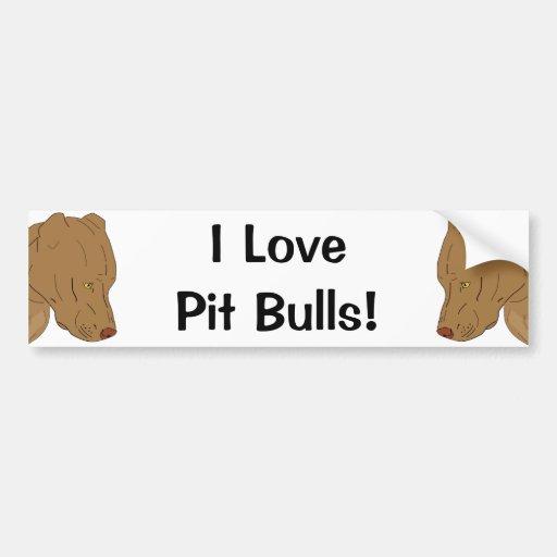 Cute and Sad Pit Bull's Portrait - Line Art Bumper Sticker