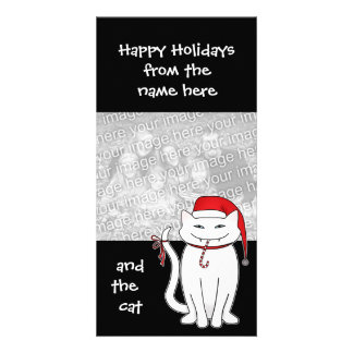 Cute and sassy Christmas white kitty Card
