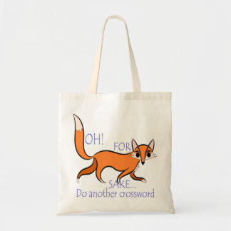 Cute and sassy fox quote for crossword lovers budget tote bag