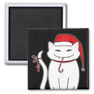 Cute and sassy funny white Christmas kitty Magnets