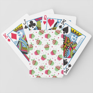 Cute and sweet Christmas colored cupcakes Bicycle Playing Cards