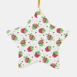 Cute and sweet Christmas colored cupcakes Ceramic Ornament