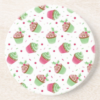 Cute and sweet Christmas colored cupcakes Coaster