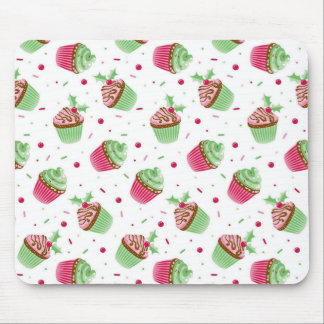 Cute and sweet Christmas colored cupcakes Mouse Pad