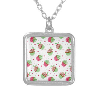Cute and sweet Christmas colored cupcakes Silver Plated Necklace