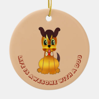Cute and Sweet Golden Dog Ceramic Ornament