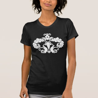 Cute and trendy white damask motif t shirts
