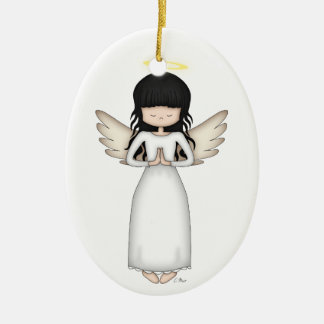 Cute and Whimsical Angel Girl with Halo Ceramic Ornament