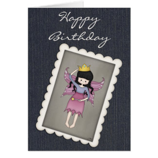 Cute and Whimsical Little Fairy Princess Girl Greeting Card