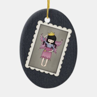 Cute and Whimsical Little Fairy Princess Girl Double-Sided Oval Ceramic Christmas Ornament