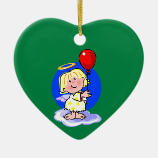 Cute Angel And Red Balloon Ceramic Heart Decoration