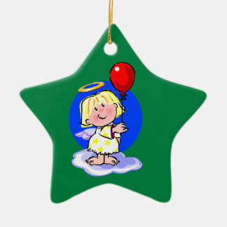Cute Angel And Red Balloon Ceramic Star Decoration