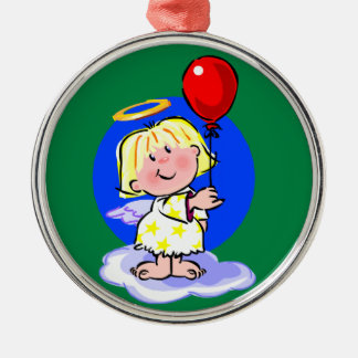 Cute Angel And Red Balloon Silver-Colored Round Decoration