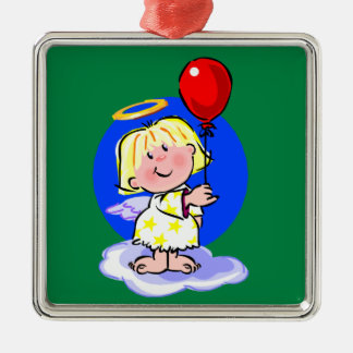 Cute Angel And Red Balloon Silver-Colored Square Decoration