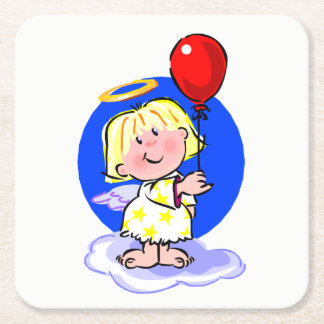 Cute Angel And Red Balloon Square Paper Coaster