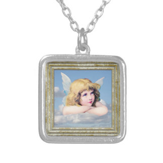 Cute Angel In The Clouds Silver Plated Necklace