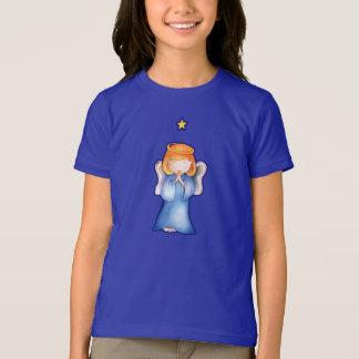 Cute angel of peace girl blue Christmas t-shirt