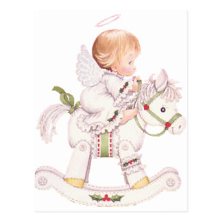 Cute Angel on a White Christmas Rocking Horse Postcard