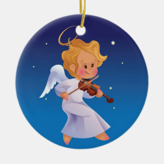 Cute angel playing violin ceramic ornament