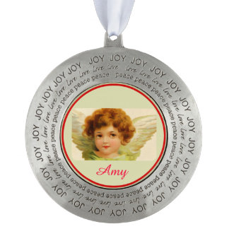 Cute Angel with White Wings retro Round Ornament