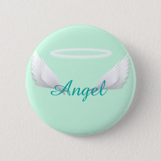 Cute Angel with wings and Halo Button