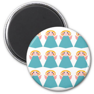 Cute angels blue on white magnet