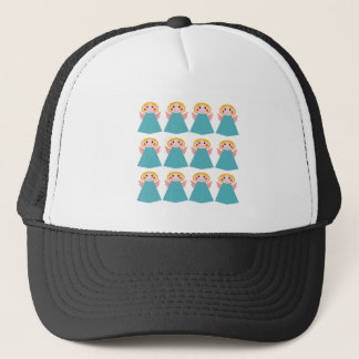 Cute angels blue on white trucker hat